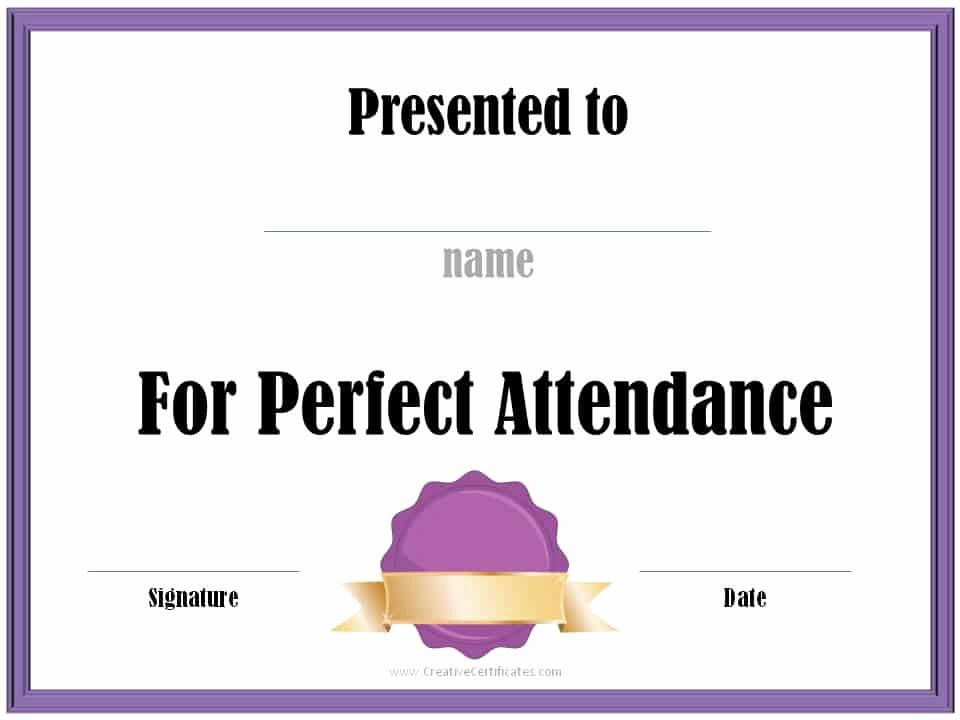 Printable Perfect attendance Award Luxury Perfect attendance Award Certificates
