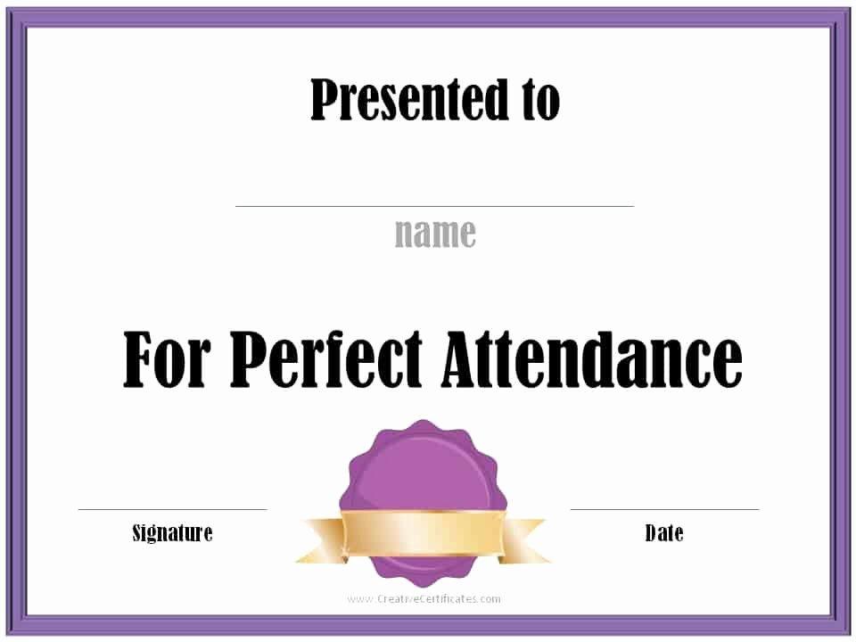 Printable Perfect attendance Award Luxury Perfect attendance Award Certificates