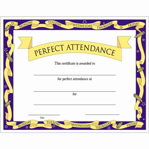 "Printable Perfect attendance Award Luxury Perfect attendance Certificates 8 1 2"" X 11"""