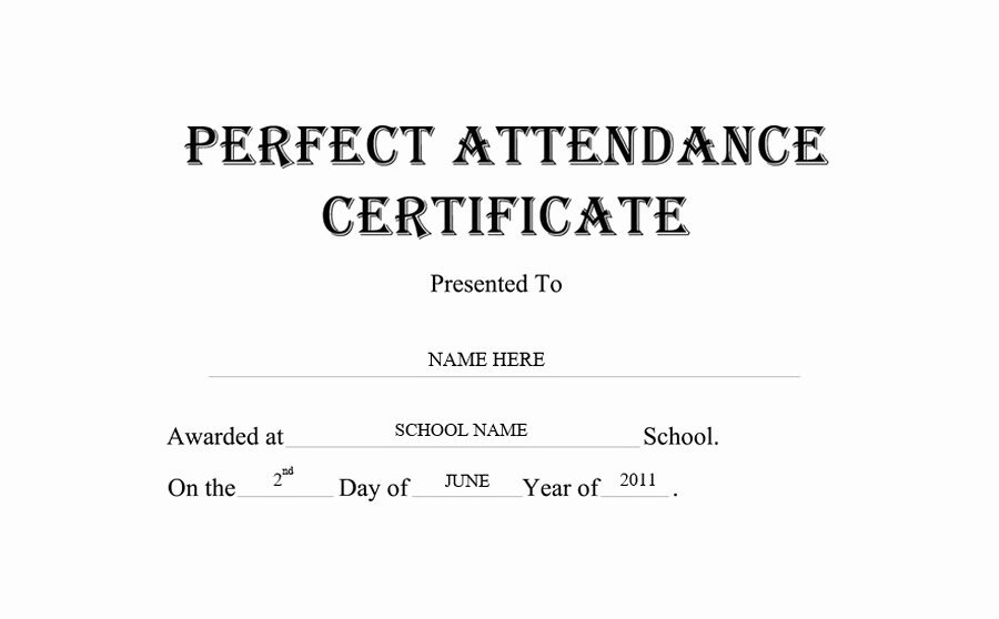 Printable Perfect attendance Award Unique Perfect attendance Certificate Free Word Templates & Clipart