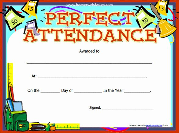 Printable Perfect attendance Award Unique Perfect attendance Certificate Template
