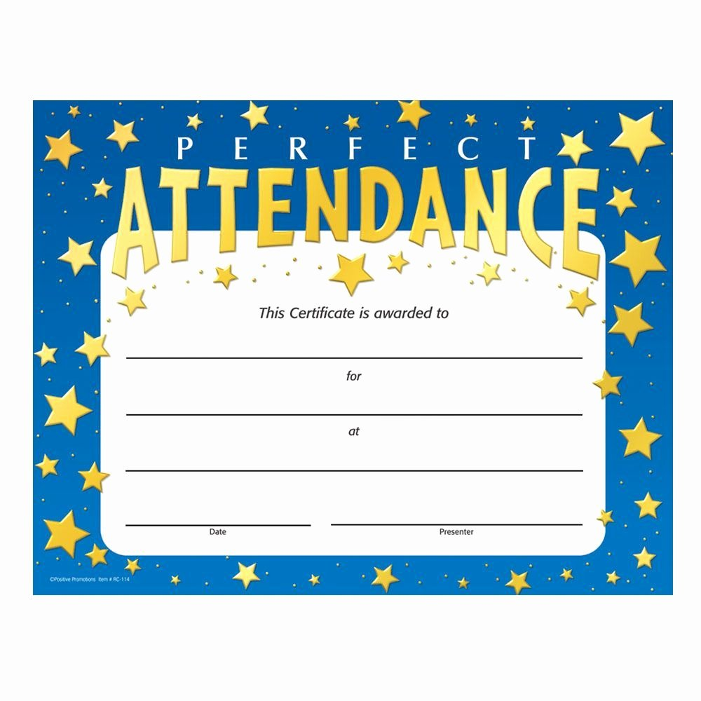 Printable Perfect attendance Certificate Beautiful Perfect attendance Stars Design Gold Foil Stamped Certificates