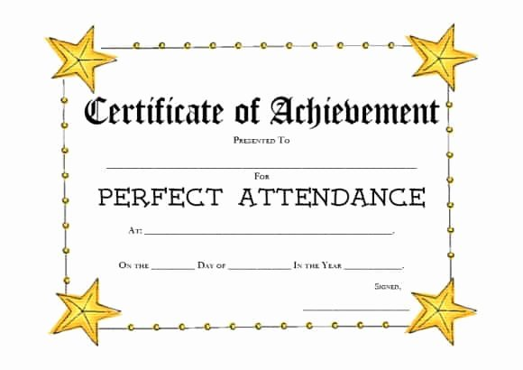 Printable Perfect attendance Certificate Fresh 40 Printable Perfect attendance Award Templates & Ideas