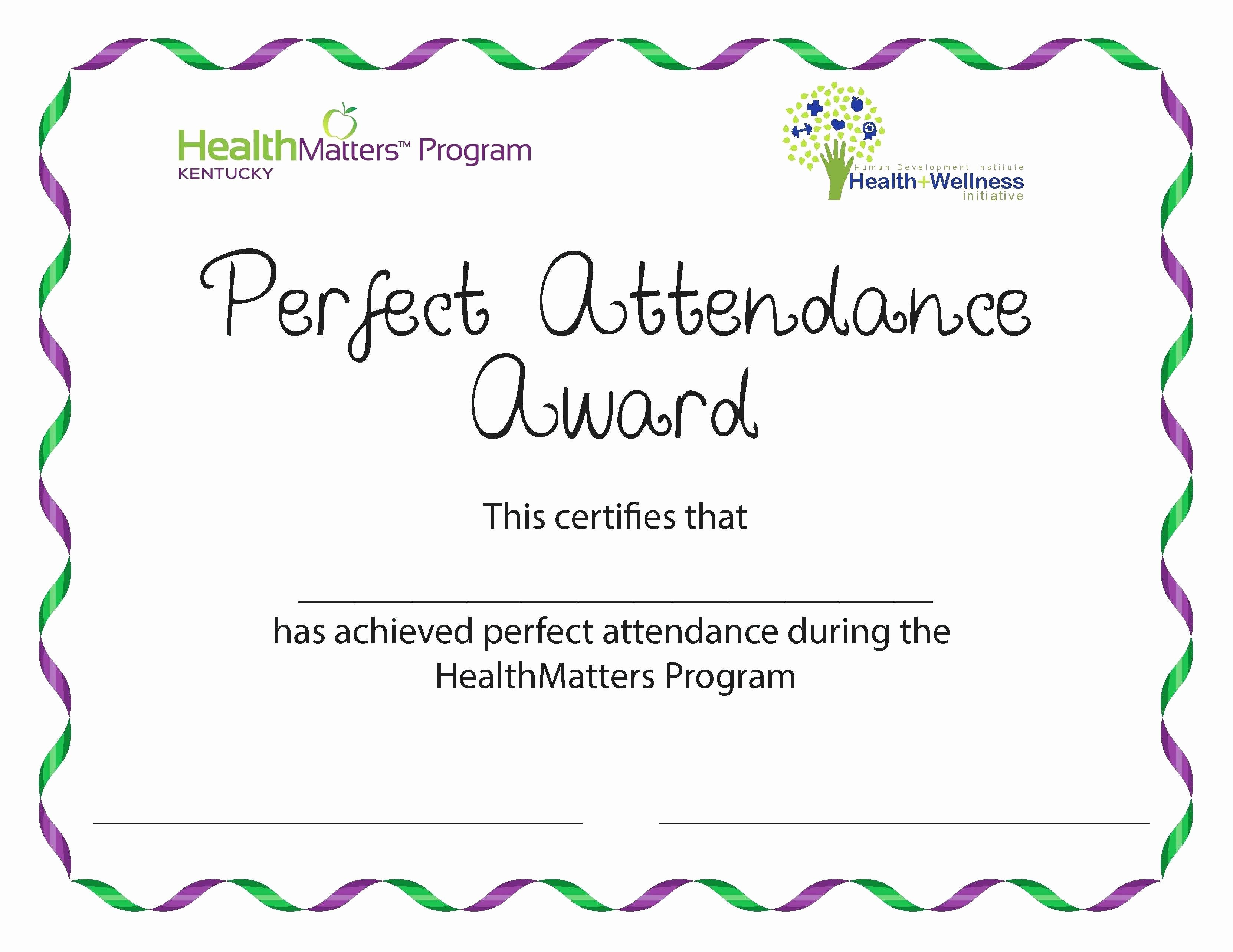 Printable Perfect attendance Certificate Fresh Free Perfect attendance Certificate Template Image