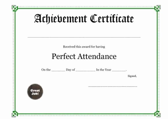 Printable Perfect attendance Certificate Lovely 40 Printable Perfect attendance Award Templates & Ideas