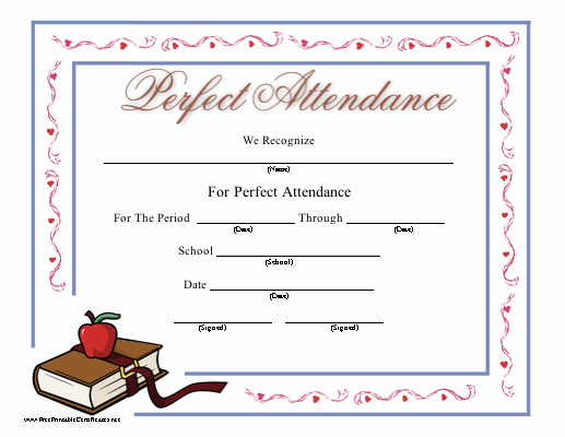 Printable Perfect attendance Certificate Luxury Perfect attendance