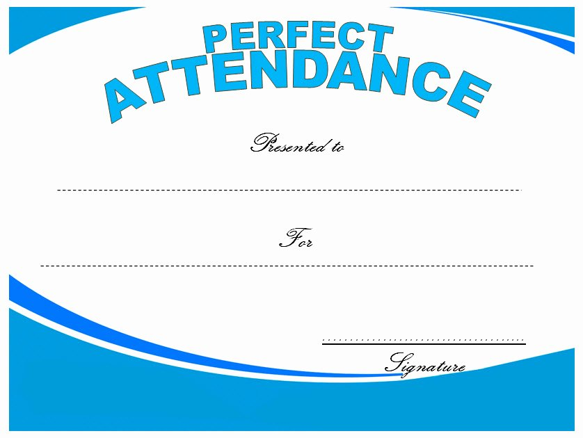 Printable Perfect attendance Certificate New 8 Printable Perfect attendance Certificate Template Designs