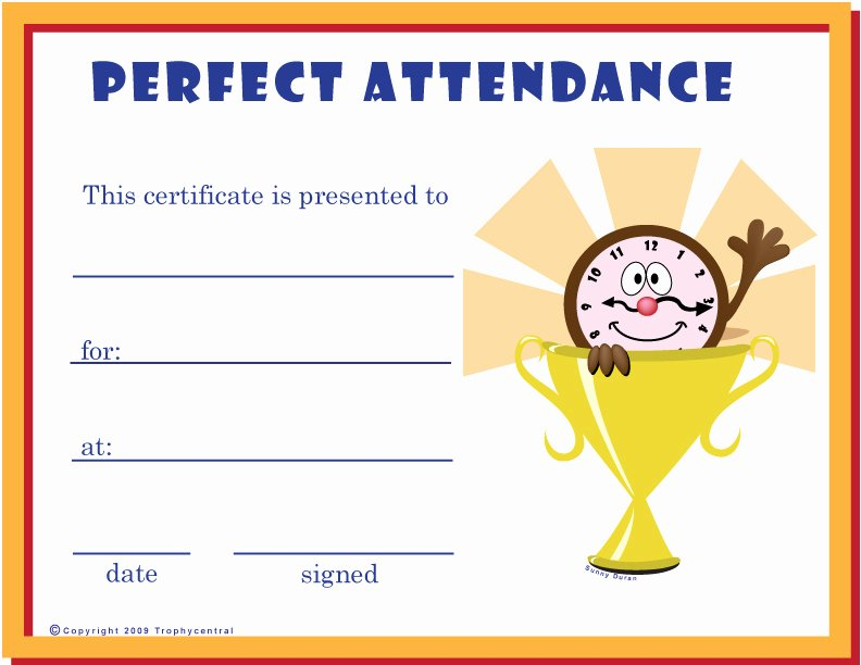 Printable Perfect attendance Certificate New Free Perfect attendance Certificates Certificate Free