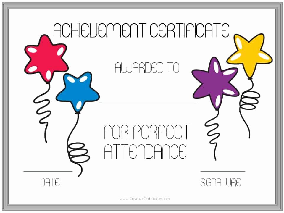 Printable Perfect attendance Certificate Unique Perfect attendance Award Certificates