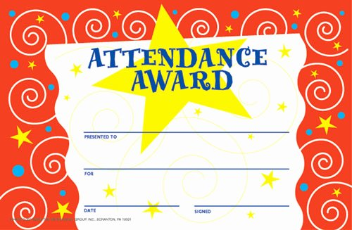 Printable Perfect attendance Certificate Unique Print Perfect attendance Award Certificate