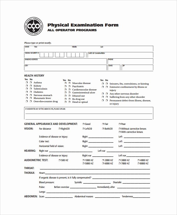 Printable Physical Exam forms Beautiful 9 Sample Physical Exam forms Pdf