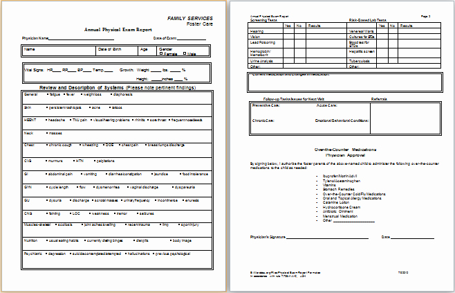 Printable Physical Exam forms Best Of Physical Examination Report form
