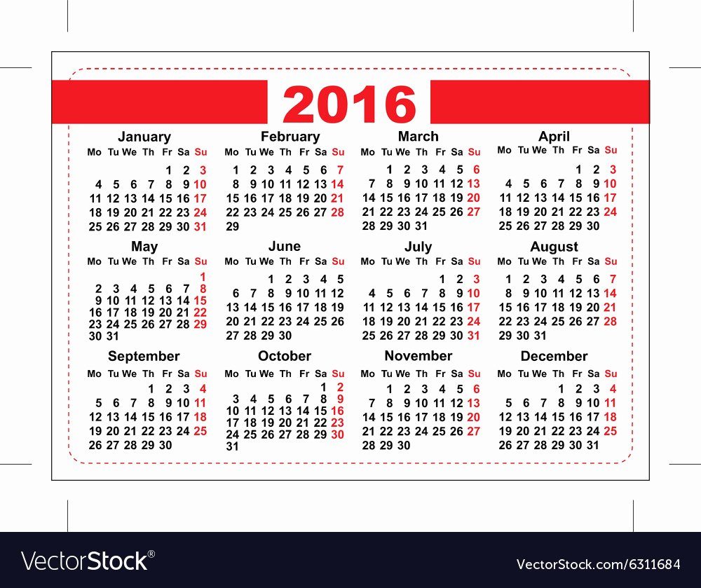 Printable Pocket Monthly Calendar Beautiful 2016 Pocket Calendar Template Grid Horizontal Vector Image