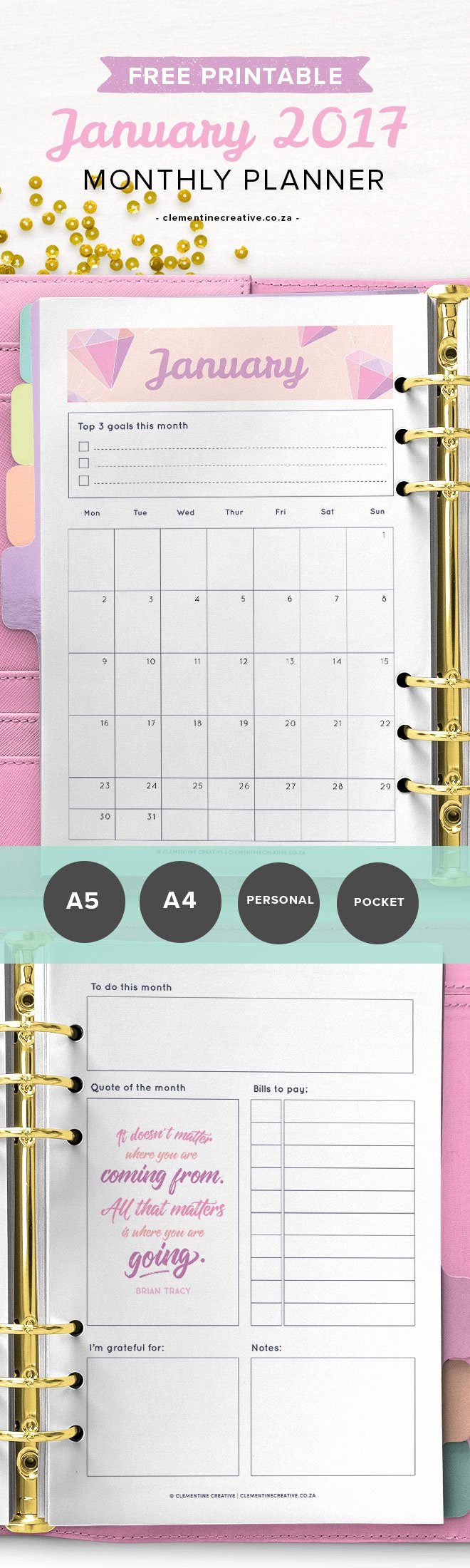 Printable Pocket Monthly Calendar Best Of January 2017 Printable Monthly Planner Clementine Creative
