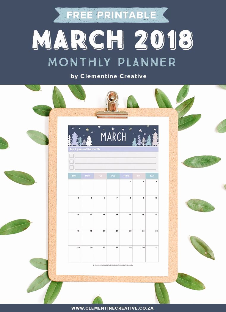 Printable Pocket Monthly Calendar Fresh March 2018 Free Printable Monthly Planner