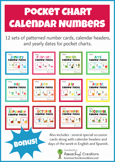Printable Pocket Monthly Calendar Luxury Free Pocket Chart Calendar Card Set for the Entire Year
