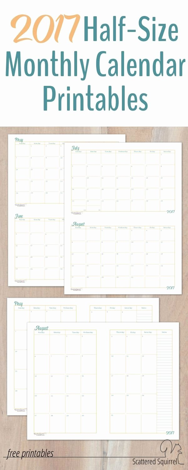 Printable Pocket Monthly Calendar New 2017 Half Size Monthly Calendar Printables