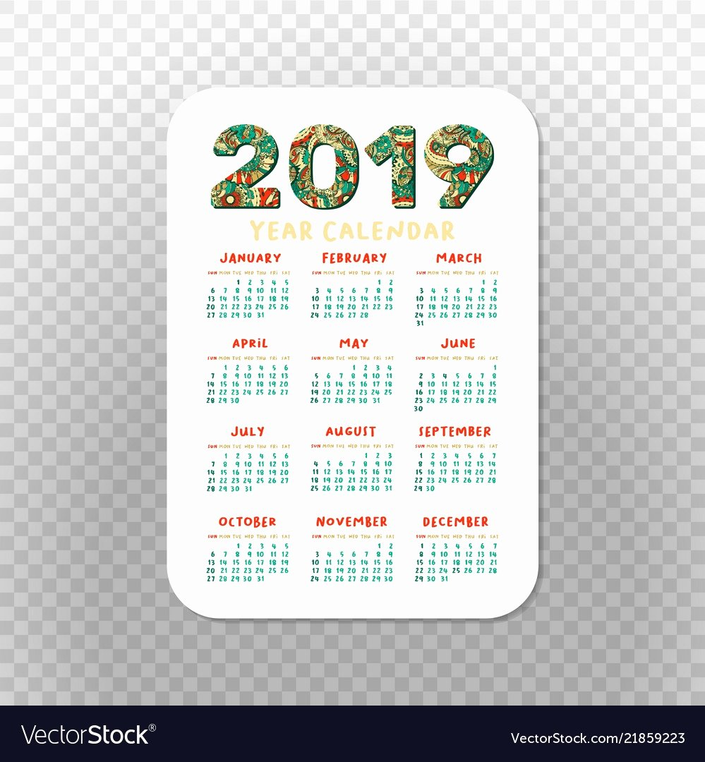 Printable Pocket Monthly Calendar Unique 2019 Pocket Calendar