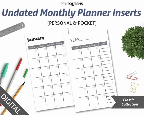 Printable Pocket Monthly Calendar Unique Undated Monthly Planner Insert Printable Month Two