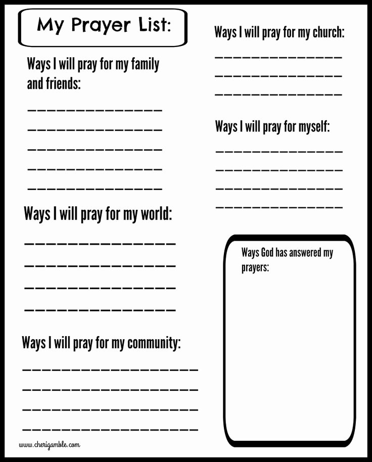 Printable Prayer List Template Fresh Free Prayer Journal Pages Designed for Children and Teens