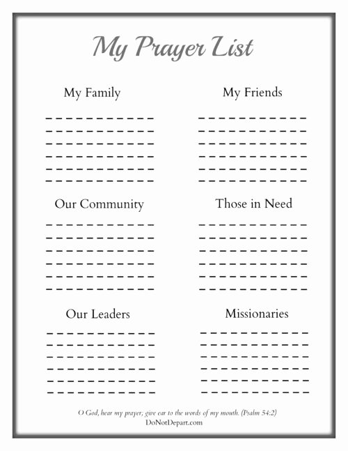 Printable Prayer List Template New Printable Prayer Sheet for Children Do Not Depart