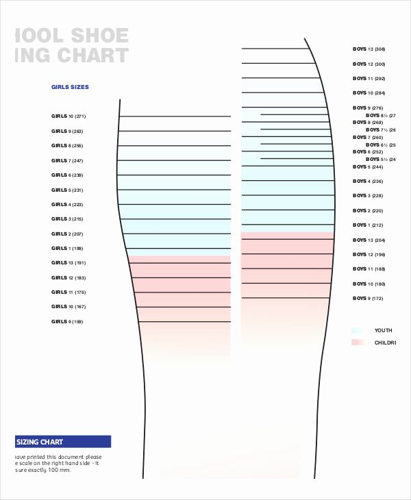 Printable Shoe Size Chart Width Inspirational 29 Of Template to Measure Shoe Size
