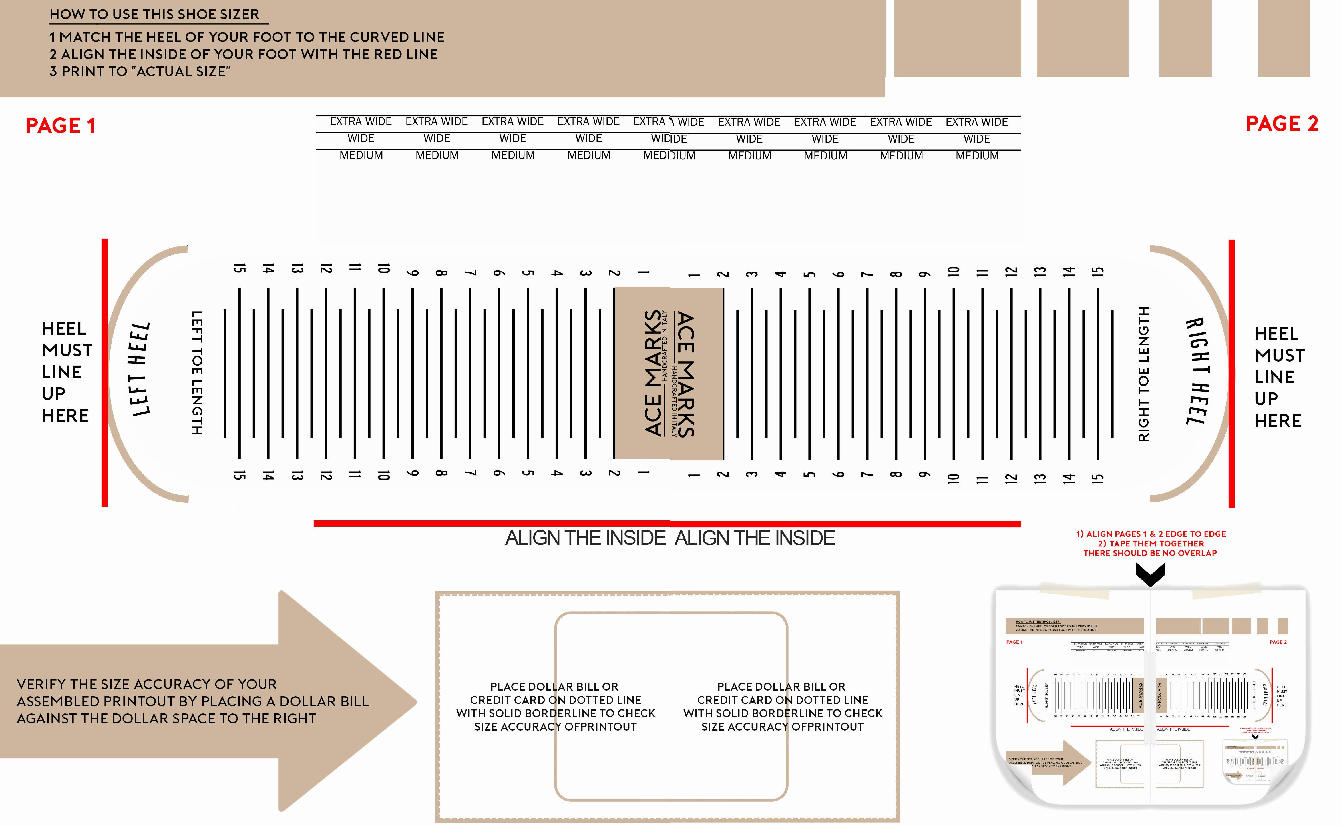 Printable Shoe Size Chart Width Luxury Ace Marks Size Guide