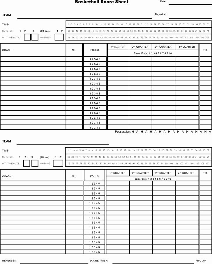 Printable soccer Stat Sheet Awesome Basketball Score Sheet 2019