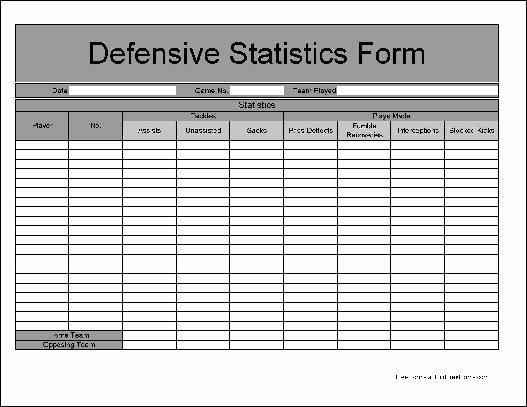 Printable soccer Stat Sheet Elegant Free Basic Football Defensive Statistics form