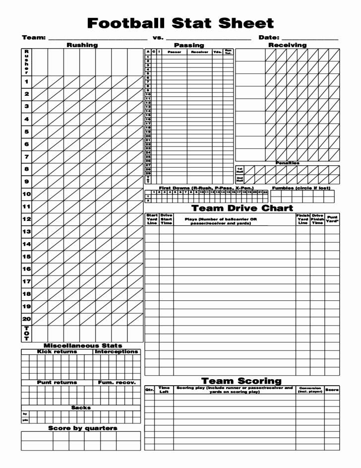 Printable soccer Stat Sheet Inspirational Football Stat Sheet 2019