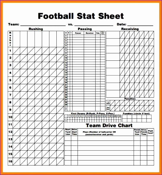 Printable soccer Stat Sheet New 14 Football Stat Sheet Template Excel Exceltemplates