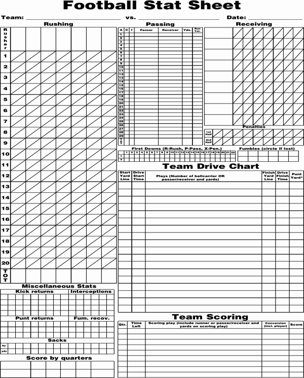 Printable soccer Stat Sheet Unique Download Blank Football Stat Sheet for Free formtemplate