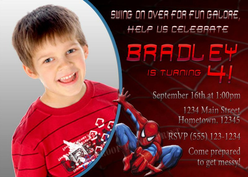 Printable Spiderman Birthday Card Awesome Kids Birthday Party Invitations Wording