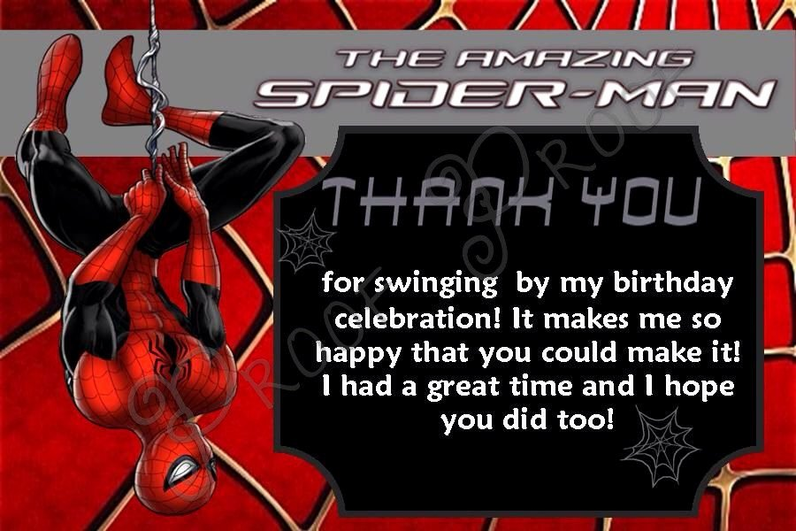 Printable Spiderman Birthday Card Elegant Spiderman Thank You Cards Inst Download Spiderman Thank