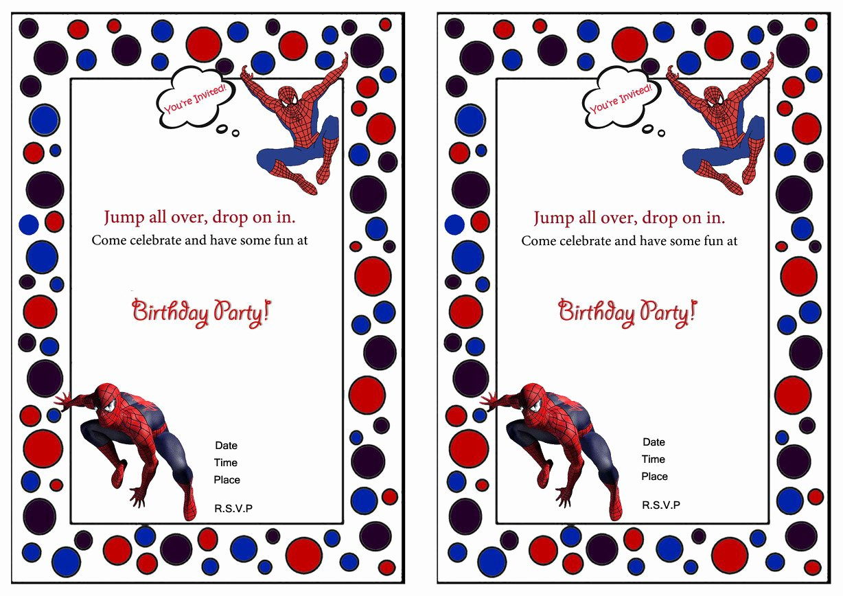 Printable Spiderman Birthday Card Lovely Printable Spiderman Party Invitations