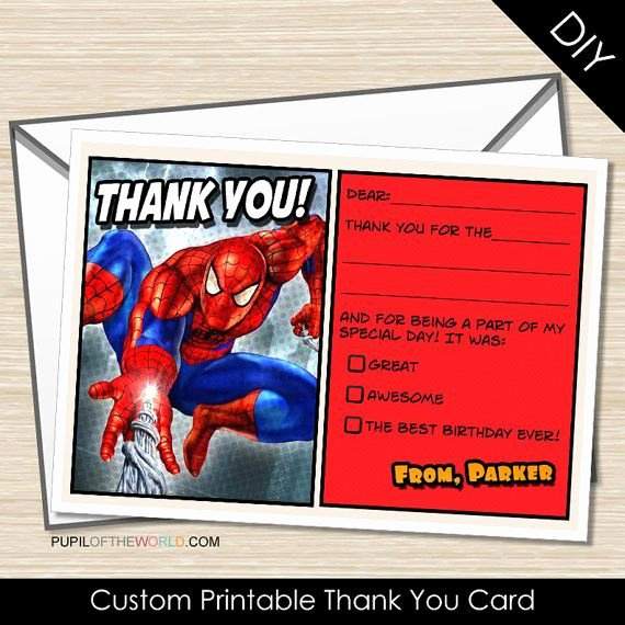 Printable Spiderman Birthday Card Lovely Spiderman Printable Thank You Card Custom by