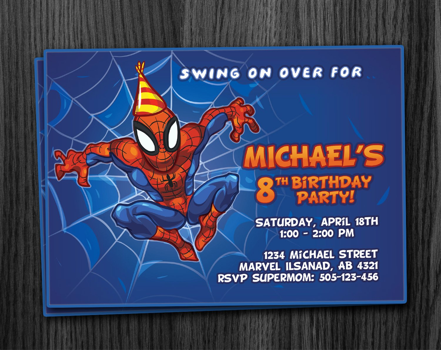 Printable Spiderman Birthday Card Luxury Spiderman Birthday Invitation Printable Download