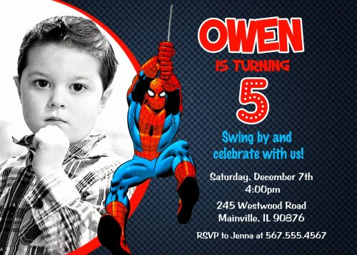 Printable Spiderman Birthday Card Luxury Superhero Spiderman Printable Birthday Party Invitation