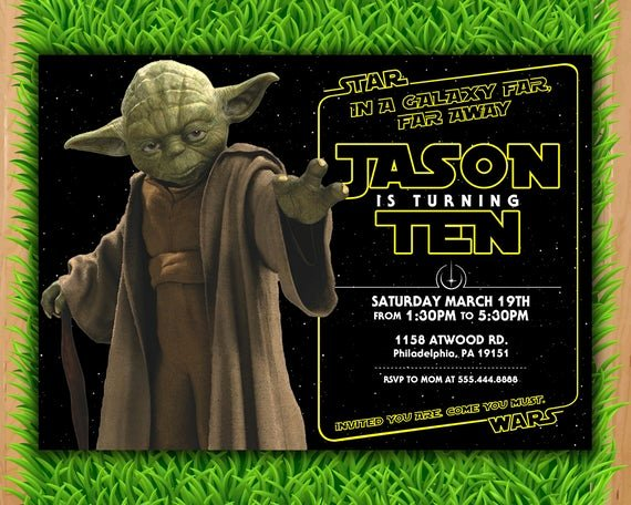 Printable Star Wars Invitation Best Of Yoda Invitation Star Wars Invite A force Awakens