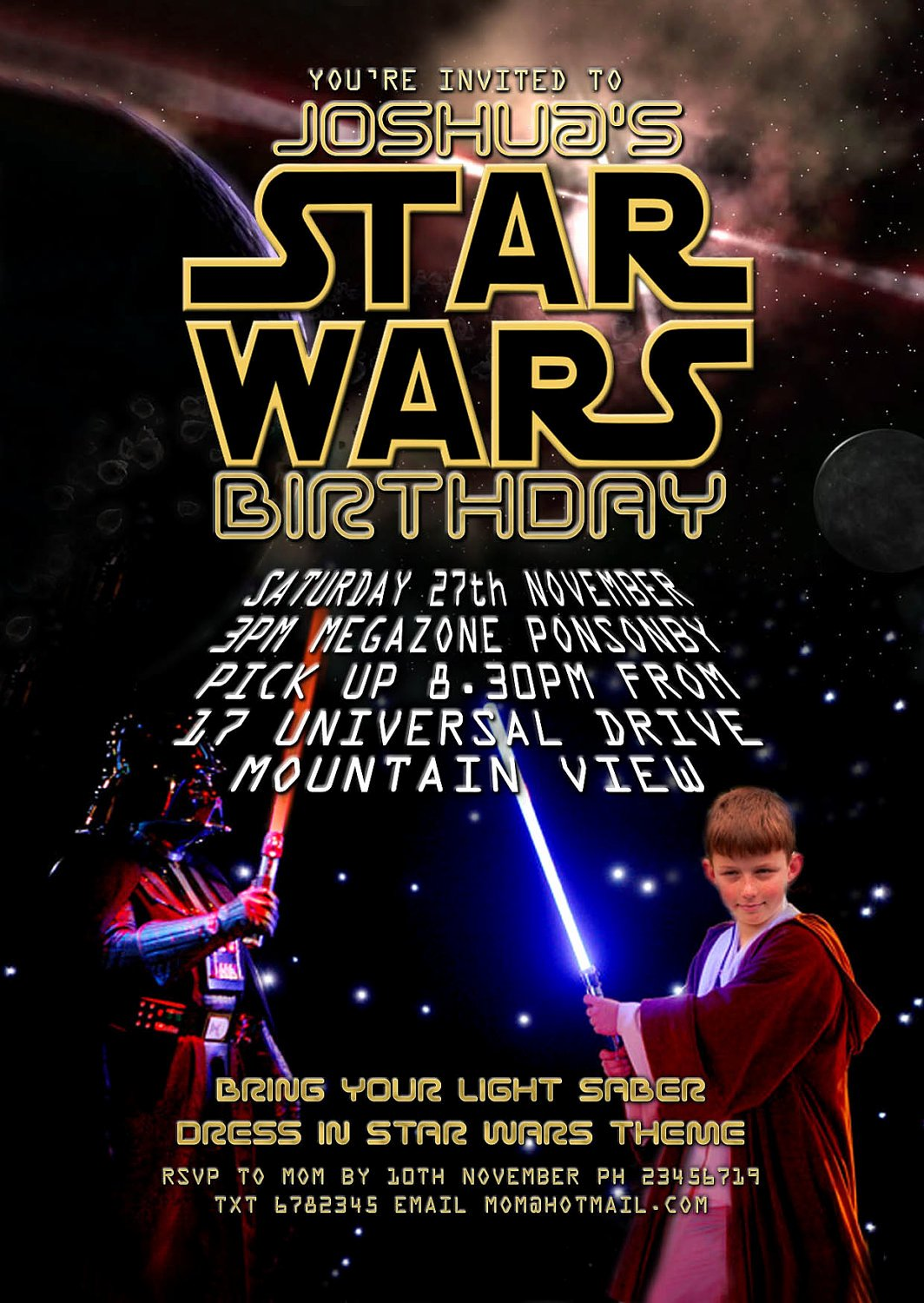 Printable Star Wars Invitation Elegant Lighting