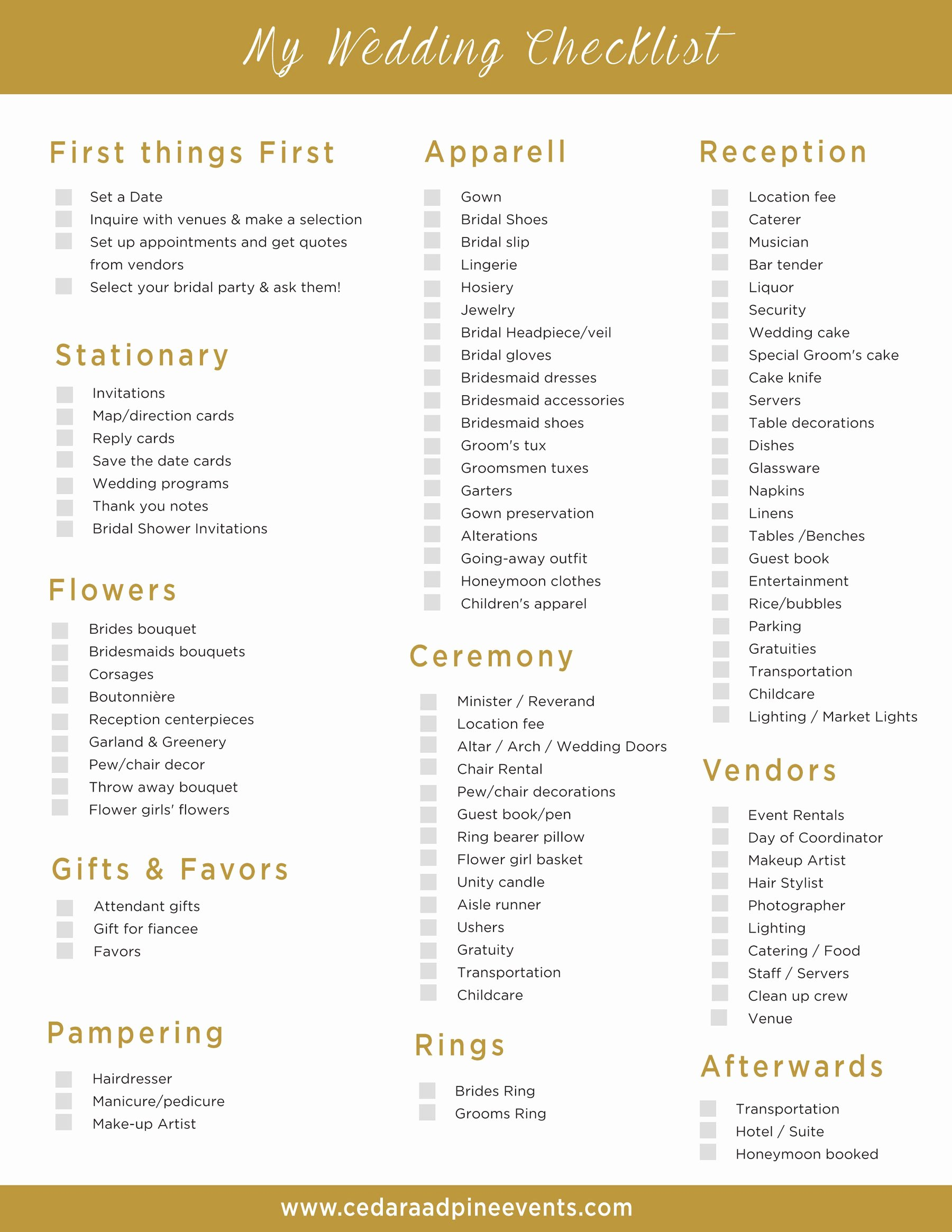Printable Wedding Checklist Free Awesome Free Printable Wedding Planning Check List