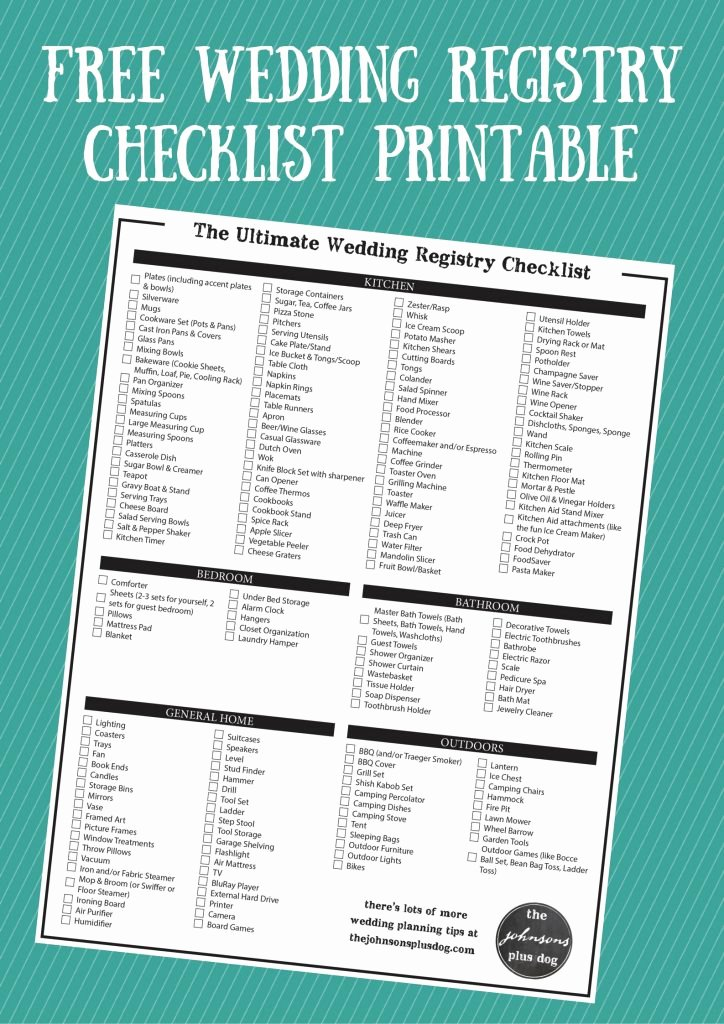 Printable Wedding Checklist Free Beautiful the Ultimate Wedding Registry Checklist Free Printable