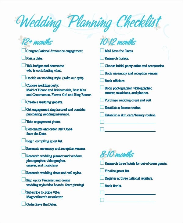 Printable Wedding Checklist Free Fresh Printable Wedding Checklist Pdf