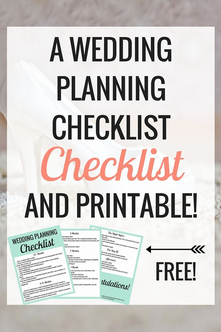 Printable Wedding Checklist Free Lovely 17 Best Images About Wedding Planner On Pinterest