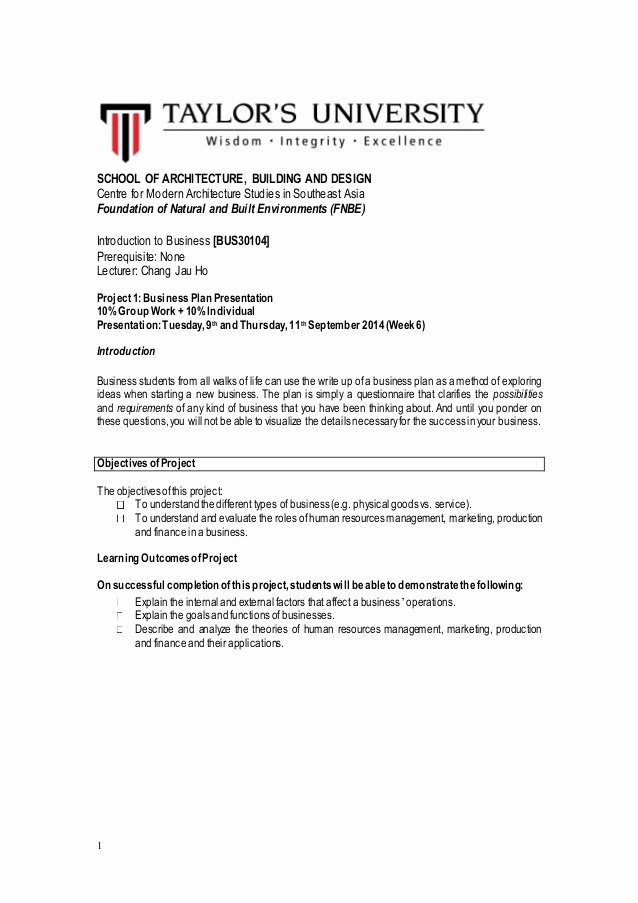 Private School Business Plans Lovely Brief Business Plan assignment