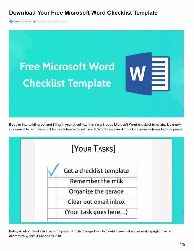 Procedures Template Microsoft Word Beautiful Download Your Free Microsoft Word Checklist Template