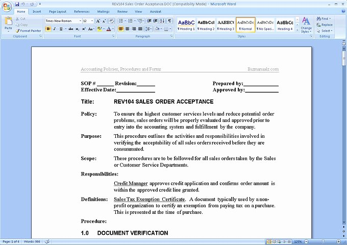 Procedures Template Microsoft Word Unique Simple Procedures Manual Template – Teplates for Every Day