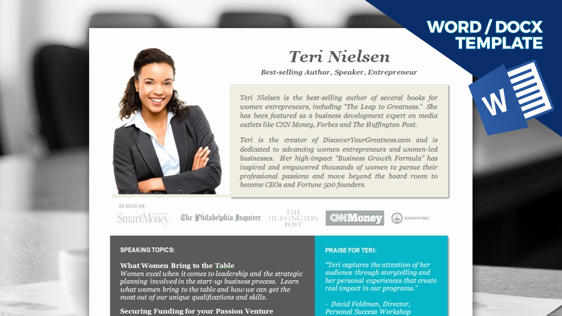 Professional Bio Template Word Awesome Speaker E Sheet Template Instant Download Ms Word