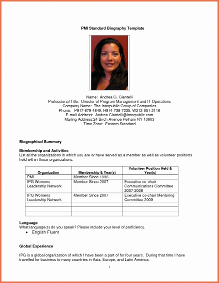 Professional Bio Template Word Unique Professional Biography Template Microsoft Word form Bio