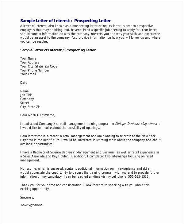 Professional Letter Of Interest Best Of Sample Letter Of Interest 8 Examples In Word Pdf